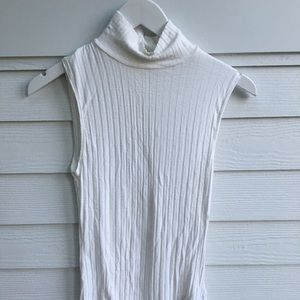 Cream Turtleneck Tank Top